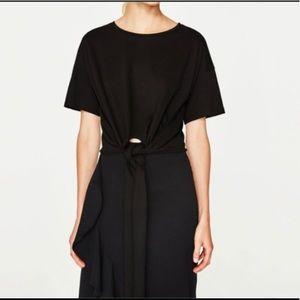 Zara Front Tie Black Crop T Shirt